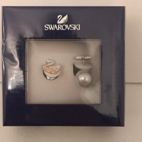 033ccfe1e Swarovski Jewelry | Auth Iconic Swan And Pearl Earrings | Poshmark